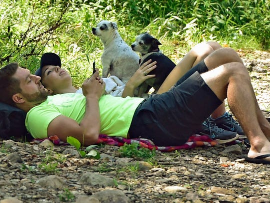 Daniel Shoap and Amber Salleng, Chambersburg, relax along a creek with dogs, Snoopy and Nallie, on a warm Tuesday afternoon, September 6, 2016 at Caledonia State Park. Temperatures could peak around 90 degrees for most of the week.