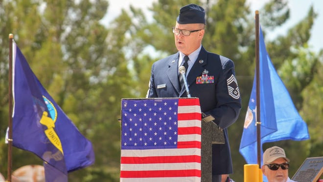 Holloman's 49th Maintenance Group Enlisted Manager Chief Master Sgt. William Starling said a few words in remembrance of Memorial Day at Tularosa's Veterans Park Monday morning on Memorial Day.