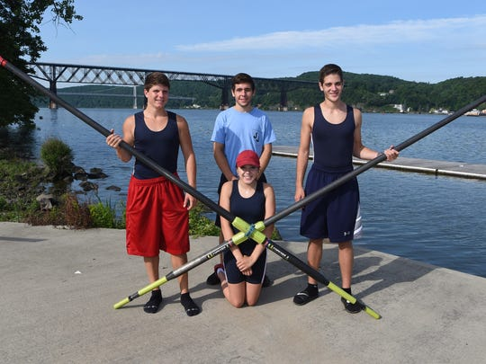 From left to right: Sam Pakrab, 17, of Hopewell Junction; Peter Kalocay, 17, of Wappingers Falls; Ally Spath, 15, of Fishkill; and John Mascia, 17, of Hopewell Junction. All are students at John Jay High School and make up the Boys Crew Boat of the Year. Not pictured is Matt Reilly, 16, of East Fishkill.