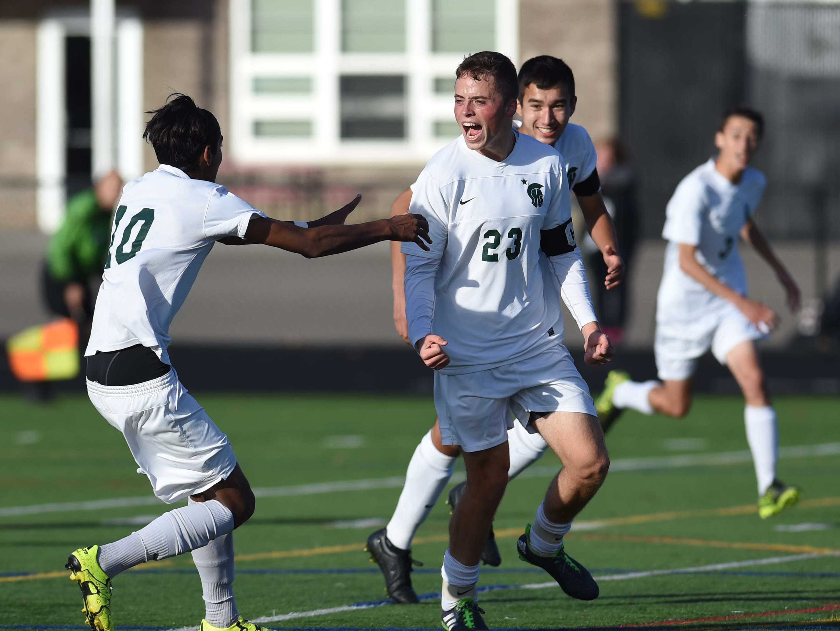 Spackenkill's Chris Stamper celebrates his goal during the Section 9 Class B final held in Marlboro on Saturday.
