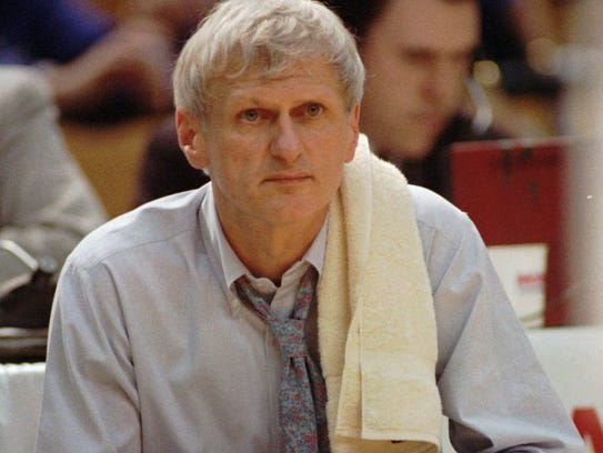 Arizona State head coach Bill Frieder watches as his Sun Devils are beaten by the Kentucky Wildcats 97-73 in the NCAA Southeast Regionals Thursday, March 23, 1995 at the Birmingham-Jefferson Civic Center in Birmingham, Ala.