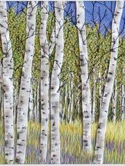"""Birch Against Blue,"" fiber art by Martha Fieber at"