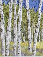 """Birch Against Blue,"" fiber art by Martha Fieber at Fine Line Dsigns Gallery."