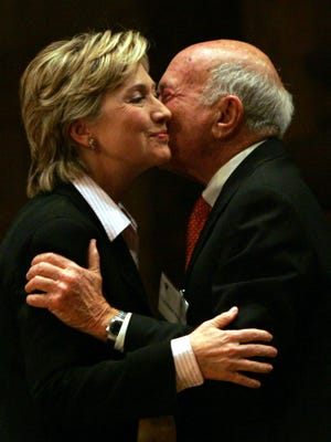 In this Jan. 18, 2006 file photo, then-Sen. Hillary Rodham Clinton, D-N.Y., is greeted by S. Daniel Abraham at Princeton University in Princeton, N.J.