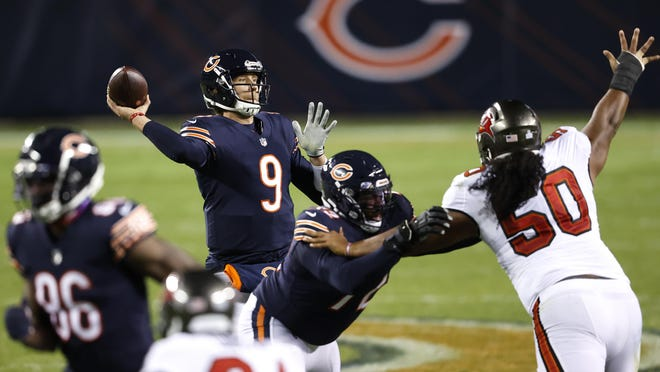Chicago Bears quarterback Nick Foles (9) looks to pass the ball against the Tampa Bay Buccaneers Oct. 8 in Chicago.