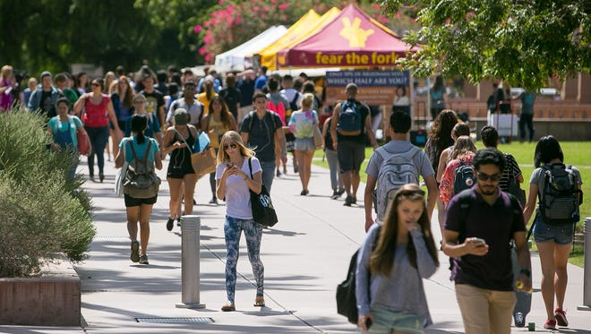 Students at the ASU Tempe Campus on Tuesday, Sept. 22, 2015.