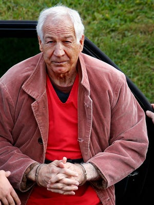 Former Penn State University assistant football coach Jerry Sandusky arrives for an appeal hearing at the Centre County Courthouse in Bellefonte, Pa.