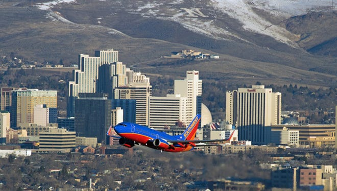 A Southwest flight departs from Reno-Tahoe International Airport.