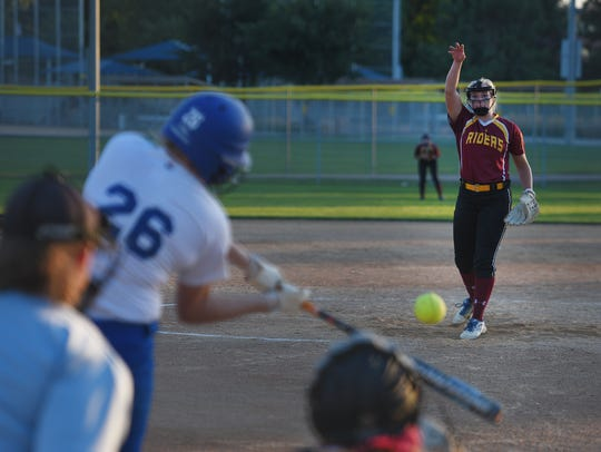 Roosevelt's Macy Schroed pitches against O'Gorman Thursday