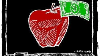 editillustration education school chalkboard funding BRINTON COLORIZED apple money