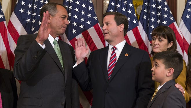 APSpeaker of the House  John Boehner (left), R-Ohio, with new Rep. Donald Norcross, D-N.J., during Norcross?  swearing-in ceremony Wednesday on Capitol Hill. Norcross replaces Rob Andrews as representative for New Jersey?s 1st District.Speaker of the House Rep. John Boehner, R-Ohio, left, poses for a photo with Representative-elect Donald Norcross, D-N.J., center, during a ceremonial swearing-in ceremony on Capitol Hill, on Wednesday, Nov. 12, 2014, in Washington. Brat was officially sworn in on the House floor immediately following the ceremonial swearing-in. (AP Photo/Evan Vucci)