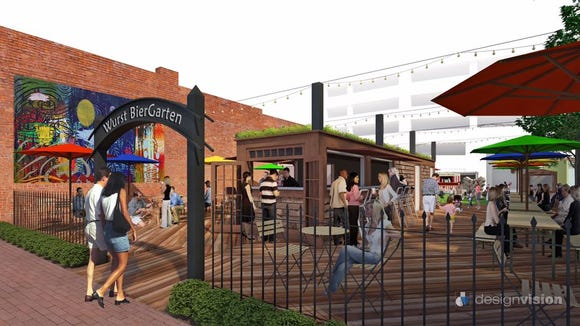 The Wurst Biergarten is a catered park, specialty event facility and year-round open-air market located in the heart of downtown Lafayette.