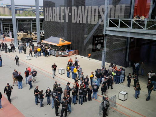 Bikers arrive at the Harley-Davidson Museum in downtown Milwaukee.