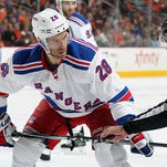 The Rangers Dominic Moore (28) was scratched from Tuesday's game against Carolina