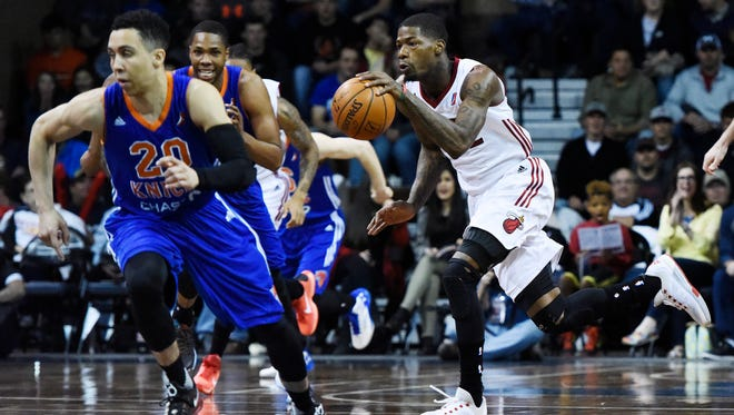 The Skyforce's DeAndre Liggins (12) charges down the court with the ball as they play the Westchester Knicks Friday night at a NBA D-League playoff game at the Sanford Pentagon, April 8, 2016.