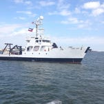 The University of Southern Mississippi's research vessel Point Sur docked Sunday at Gulfport, completing its journey from Monterey, California.