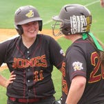 Jones County Junior College teammates Lauren Holifield, left, and Tori Dew will represent the Lady Bobcats in the Scotiabank Canadian Open Fastpitch International Championship.