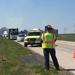 Crews clean up debris from a vehicle crash that happened around 10 a.m. Friday along Route 15 in Straban Township. An Adams County 911 dispatcher said a STAT MedEvac helicopter was called to the scene.