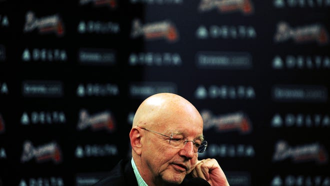 """FILE - This Oct. 21, 2008 file photo shows veteran Atlanta Braves broadcaster Pete Van Wieren speaking during a news conference in Atlanta. Van Wieren, the bespectacled broadcaster who was part of the landmark team that carried Atlanta Braves games throughout the nation on Ted Turner's """"SuperStation,"""" died Saturday, Aug. 2, 2014 after a long battle with cancer, the team said. He was 69. (AP Photo/The Journal & Constitution, Pouya Dianat, file) MARIETTA DAILY OUT, GWINNETT DAILY POST OUT"""