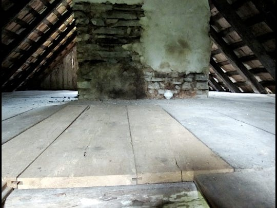 Central Chimney coming through the Second Floor of the Attic in Mid-18th Century Germanic Log House on the grounds of the Historic Hellam Preserve (S. H. Smith, 2015)