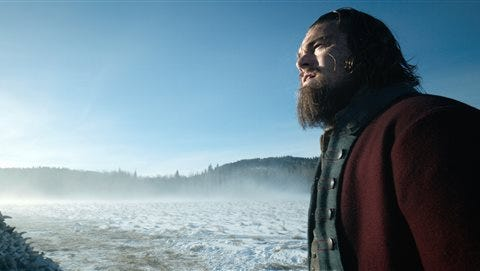 """This photo provided by Twentieth Century Fox shows Leonardo DiCaprio in a scene from the film, """"The Revenant."""" The film was nominated for an Oscar for best picture on Thursday. The 88th annual Academy Awards will take place on Sunday, Feb. 28, at the Dolby Theatre in Los Angeles."""