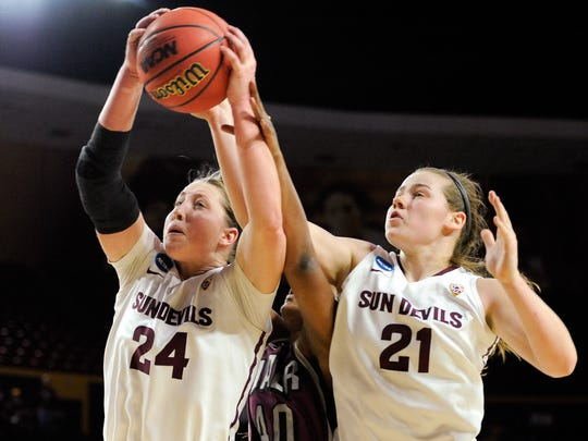 Forward Kelsey Moos (24) and forward Sophie Brunner (21) of Arizona State will be joined this season by a top recruiting class.