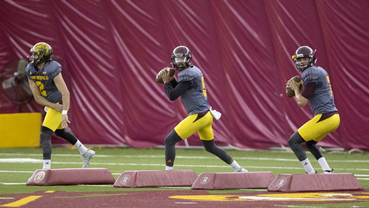 The Arizona State University quarterbacks #2 Mike Bercovici,
