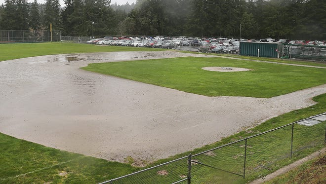 The Central Kitsap High School baseball field is unplayable on a recent day due to rain.