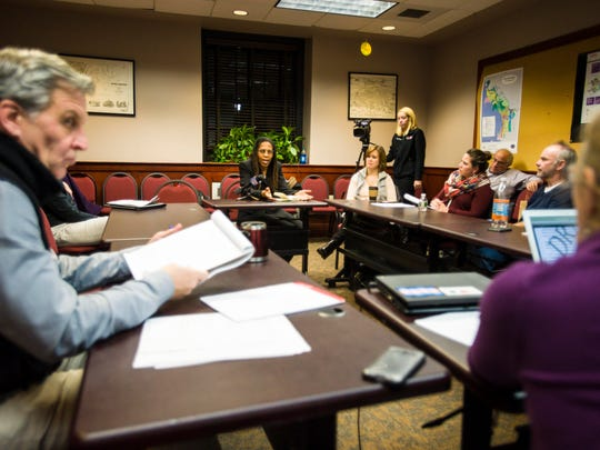 The Burlington City Council's Public Safety Committee discusses a resolution pertaining to issues with evictions during a meeting  with representatives from housing agencies and mental health advocacy groups in Burlington on Tuesday, January 3, 2017.
