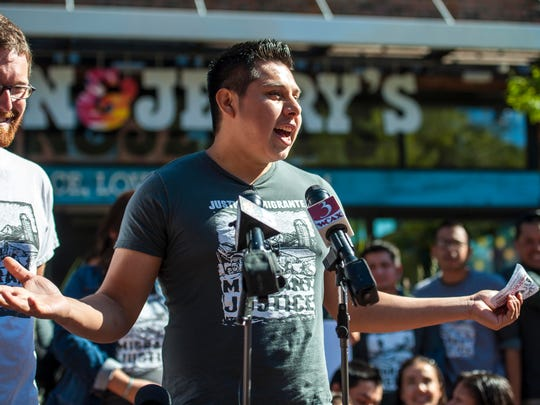 Enrique Balcazar of Migrant Justice speaks during a news conference where the farm workers rights organization and Ben & Jerry's ice cream announced an agreement in Burlington on Tuesday, October 3, 2017. The Milk with Dignity program seeks to ensure that milk provided to the ice cream maker is produced under fair working conditions.