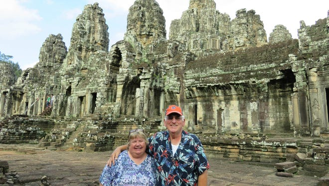 Marlene and Keith Bankwitz from Dearborn at the Angkor Thom Temple near Siem Reap, Cambodia during their October 2015 vacation.