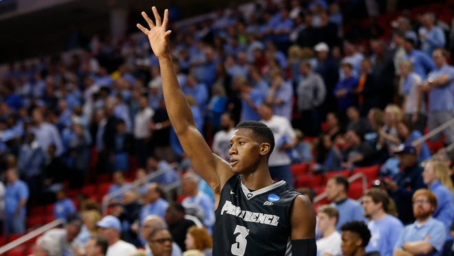 Mar 19, 2016: Providence Friars guard Kris Dunn (3) waves to the fans after being removed from the game against the North Carolina Tar Heels in the second half during the second round of the 2016 NCAA Tournament at PNC Arena. The Tar Heels won 85-66.