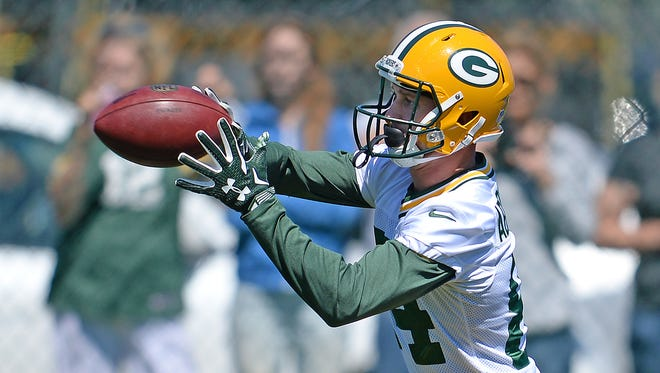 Green Bay Packers receiver Jared Abbrederis during minicamp at Clarke Hinkle Field on June 16, 2015.