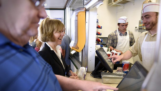 Lt. Gov. Tina Smith stops at Val's Rapid Serve in St. Cloud for lunch Wednesday between stops at local businesses. In addition to Val's, Smith toured Mississippi Topsoils in Cold Spring and Beaver Island Brewing Co. in St. Cloud.