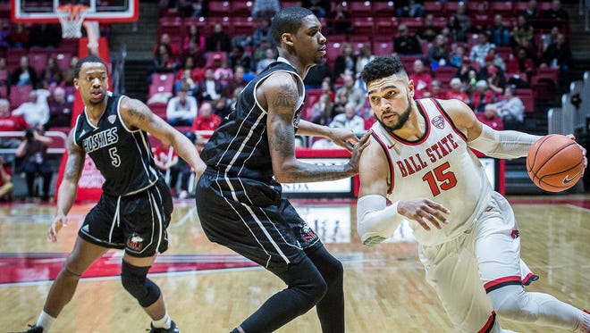 Ball State's Franko House dribbles past Northern Illinois' defense during their game at Worthen Arena Friday, March 3, 2017.