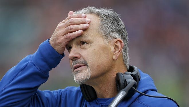 Indianapolis Colts head coach Chuck Pagano was not happy what he saw at Paul Brown Stadium in Cincinnati on Oct. 29, 2017.