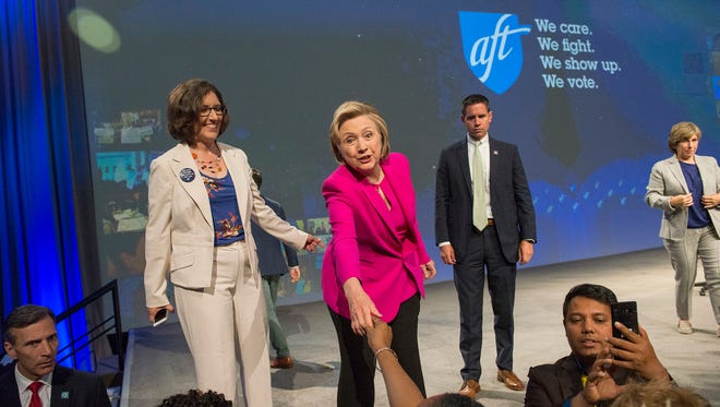 Hillary Clinton at the American Federation of Teachers convention in Pittsburgh on July 13, 2018.