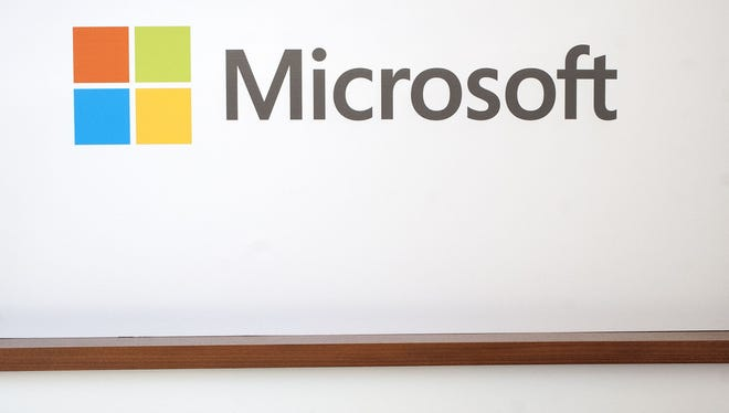 The Microsoft logo is seen in San Francisco.