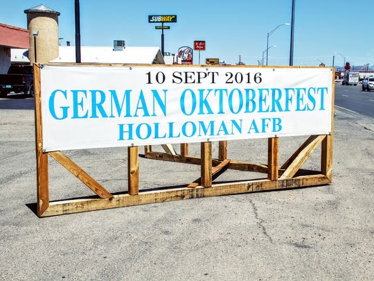 An Oktoberfest sign sits on White Sands Blvd. The event will be held Saturday, Sept. 10 at Holloman Air Force Base.