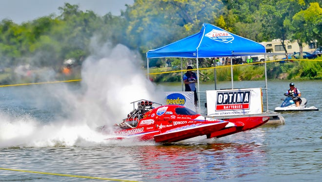 A top-fuel hydro heads for the starting line during a timed run during the Showdown in San Angelo on Lake Nasworthy.