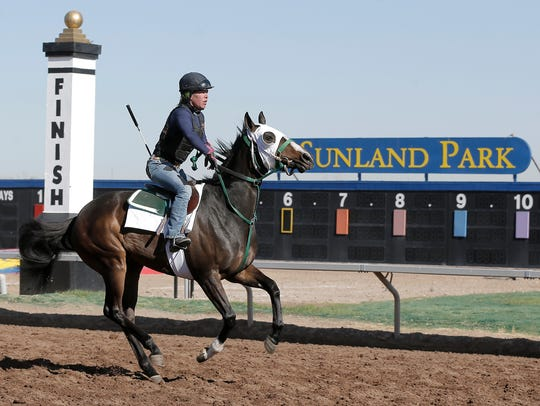 A jockey rides a horse at Sunland Park Racetrack &