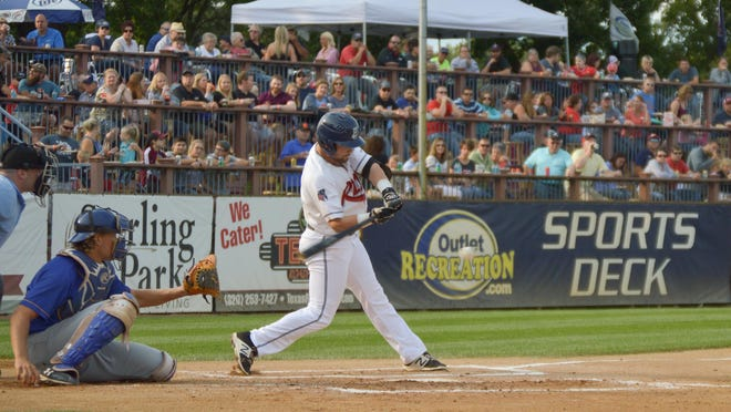 Matt Tarantino of the St. Cloud Rox connects for one of his two hits Saturday at Joe Faber Field. Tarantino had a double and is hitting .271 on the season after St. Cloud's 5-0 win over Waterloo