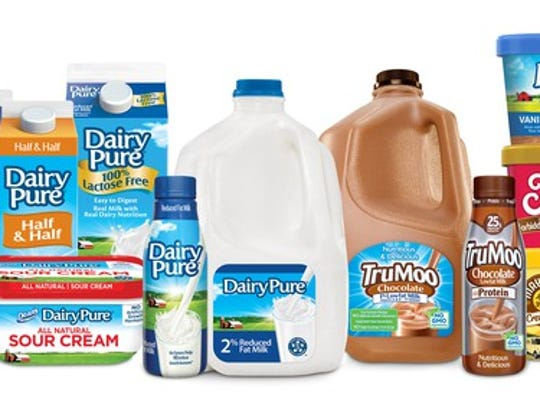 A lineup of Dean Foods products including milk, chocolate milk, ice cream, sour cream, and half and half