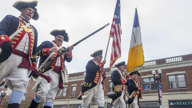 A Revolutionary War Color Guard in the annual Veterans Day parade in Quincy on Nov. 11 2019. (Joe Difazio/The Patriot Ledger)