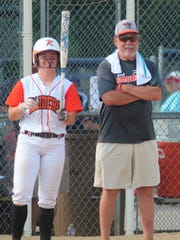 Ryle senior Maclai Branson and head coach Craig Milburn talk strategy during Ryle's 3-2 loss to Warren East in the KHSAA state softball tournament June 7, 2018 at Jack C. Fisher Park, Owensboro, KY.