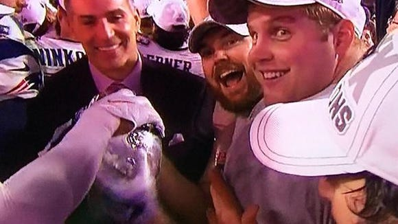 Former Mississippi State linebacker Chris White (second from right) won a Super Bowl with the Patriots on Sunday.