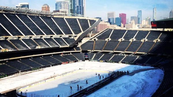 Poor ice conditions on the rink at Soldier Field have delayed the two games in the Hockey City Classic, including the MSU vs. Michigan game.