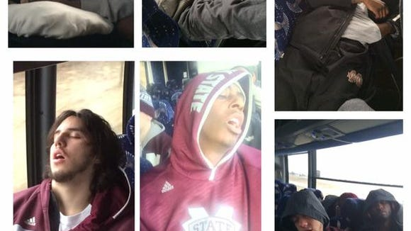 Mississippi State's basketball players rest after a long night in St. Louis.