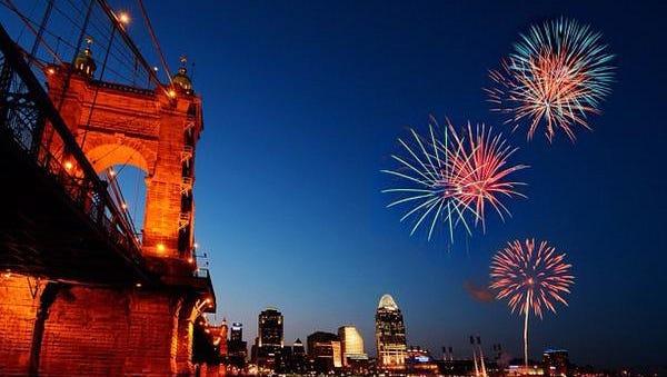 Fireworks over the Roebling Suspension Bridge in Cincinnati.