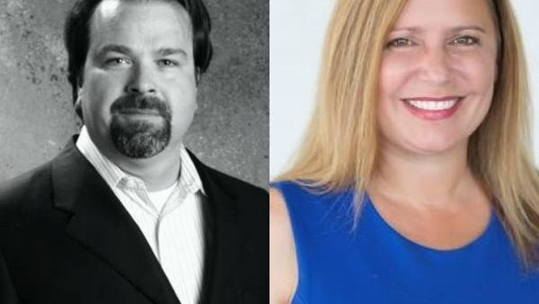 Shane Schulte, left, and Heather Anderson ran for the Des Moines School Board.
